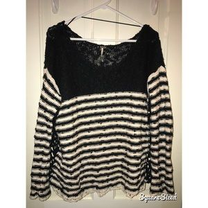 Free people black and white lightweight sweater